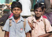 Två unga tamilskolpojkar Royaltyfri Bild