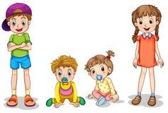 Två ungar och två spädbarn royaltyfri illustrationer