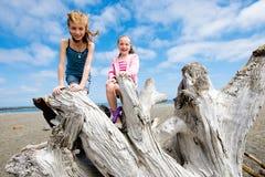 Två ungar som har gyckel på en sandig strand Arkivbild