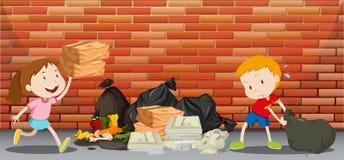 Två ungar som kastar avfall på gatan stock illustrationer