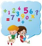 Två ungar som räknar nummer vektor illustrationer