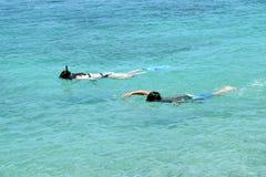 Två ungar som snorklar, stor ö, Hawaii Arkivbilder