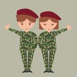 Två ungebarn som bär armékamouflage för militär likformig, kostymerar patriotiskt med hatten royaltyfri illustrationer