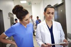 Två upptagna doktorer som diskuterar några sjukdomshistorier royaltyfri bild