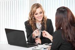 Två vänliga affärskvinnor som sitter och diskuterar nya idéer Arkivfoto