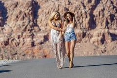 Två Vänner Enjoying Varje Annannar Företag på en ökenväg royaltyfri bild