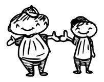 Två vänner som har svartvit gyckel stock illustrationer