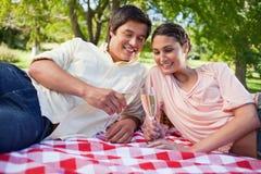 Två vänner som ser exponeringsglas av champagne under en picknick Arkivbild