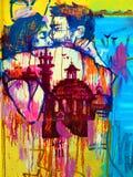 Två vänner - Street Art av Valencia royaltyfri foto