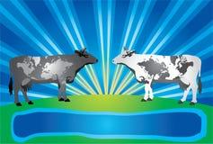 två världar Stock Illustrationer