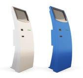 Två växelverkande kioskblått- och vitfärger 3d royaltyfria foton