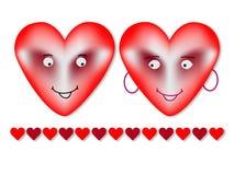 Två valentin hjärtor royaltyfri illustrationer