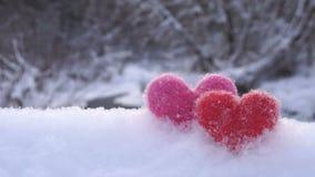 Två valentin woolen hjärtor på vit snö på flodkusten i vinter arkivfilmer