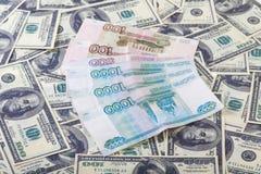 Två valutaUS dollar och rubel Royaltyfria Bilder