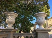 Två vaser i trädgården arkivbild