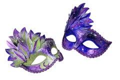 Två Venetian maskeringar för karneval royaltyfria bilder