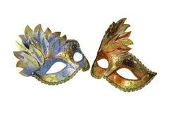 Två Venetian maskeringar för karneval fotografering för bildbyråer