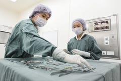 Två veterinär- kirurger i fungeringsrum Arkivfoto