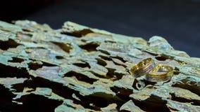 Två vigselringar i matte guld och platina över en svartvit torkduk arkivfoto
