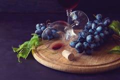 Två vinglas med rött vin och druvor dekorerade vinrankasidor Royaltyfri Foto