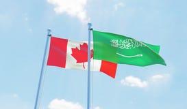 Två vinkande flaggor royaltyfri illustrationer