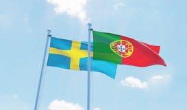 Två vinkande flaggor stock illustrationer