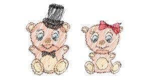 Två virkade den gullig, härlig, brunbjörnflickan och pojken med det stora huvudet och blåa ögon i en cylinder och en fluga, pilbå Arkivbilder