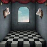 Två vita kaniner royaltyfri illustrationer