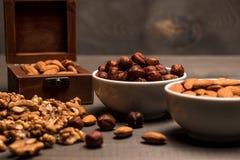 Två vita koppar med muttrar, mandlar, hasselnötter, valnöten och en träask med mandlar, sidosikt Arkivbild