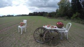 Två vita stolar och en tabell med äpplen i vide- korgar med två antika trähjul, Time-schackningsperiod 4K stock video