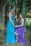 Två vuxna systrar, kopplar samman fotografering för bildbyråer