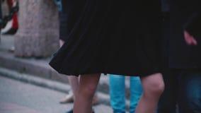 Två yrkesmässiga dansare som gör en latin - amerikansk dans och har gyckel på en ferieberömhändelse i gatan stock video