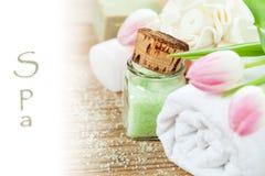 Tvål-, handduk- och blommasnowdrops Fotografering för Bildbyråer