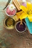 Tvål-, handduk- och blommasnowdrops Bästa sikt av härliga Spa produkter med stället för t Royaltyfri Fotografi