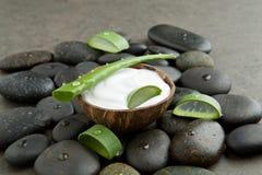 Tvål-, handduk- och blommasnowdrops skivaaloe vera på vitkräm i kokosnötskalintelligens royaltyfria foton