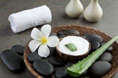 Tvål-, handduk- och blommasnowdrops skivaaloe vera på vitkräm i kokosnötskalintelligens Fotografering för Bildbyråer