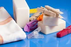 Tvål, kläder och tvätteri Fotografering för Bildbyråer