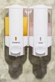 Tvål- och schampobehållare Arkivfoto