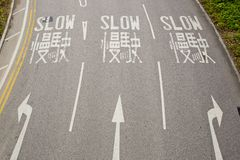 Tvåspråkigt (engelskt och kinesiskt) långsamt vägmärke för chaufför Arkivfoto