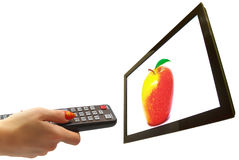 TV και χέρι που απομονώνονται Στοκ Εικόνες