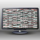 TV με τη δυσλειτουργία για το υπόβαθρο και το έμβλημα Στοκ Εικόνα