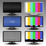 TV με τη δυσλειτουργία και κανένα σήμα, για το υπόβαθρο και το διάνυσμα εμβλημάτων Στοκ Εικόνες