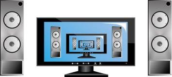 TV με το ηχητικό σύστημα Στοκ εικόνα με δικαίωμα ελεύθερης χρήσης