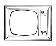 TV σκίτσων στο αναδρομικό ύφος που απομονώνεται σε ένα άσπρο υπόβαθρο Όργανο ελέγχου Στοκ Εικόνες