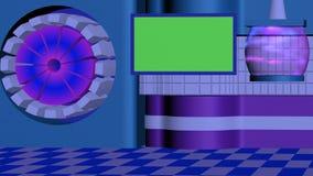 TV στούντιο μυθιστοριογραφίας με το αφηρημένο υπόβαθρο, διαφανής λαμπτήρας, πράσινη μπλε πορφύρα οθόνης ελεύθερη απεικόνιση δικαιώματος