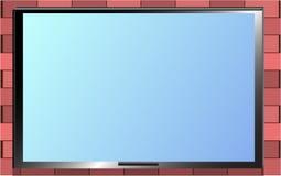 TV στο πλαίσιο τουβλότοιχος Στοκ Φωτογραφίες