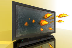 Tv. 3D render of fish jumps out of a tv Stock Photos