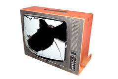 Tv. Old trashed TV with a smashed screen Stock Photography