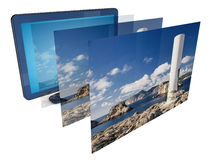 TV 3D image. 3D TV screens, isolated image concept Stock Photos