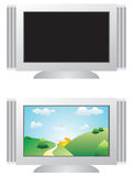 TV. A vector illustration, flat TV, flat TV with image Stock Illustration